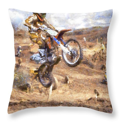 Motorcross Throw Pillow featuring the digital art Landing by Roy Pedersen