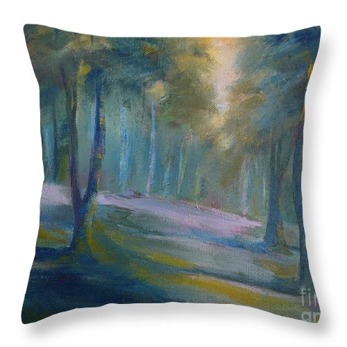 Landscape Throw Pillow featuring the painting Lands End 03   by Pusita Gibbs