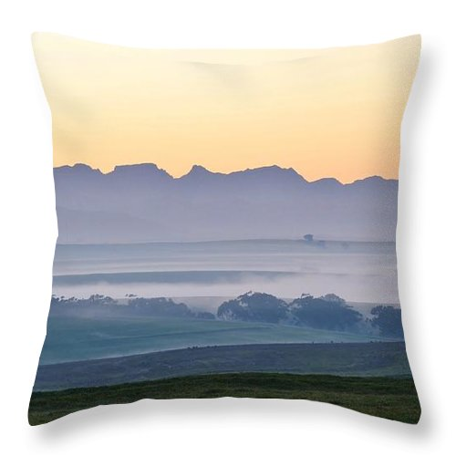 Landscape; Morning; Fog; Farm Land; Trees; Swartland; South Africa; Dawn; Sky; Light; Background; Decorative; Mountains; Blue; Rural; Throw Pillow featuring the photograph Landscape At Dawn by Werner Lehmann