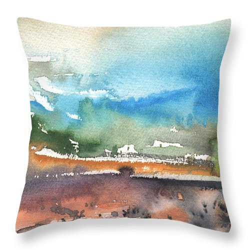 Travel Throw Pillow featuring the painting Landscape Of Lanzarote 05 by Miki De Goodaboom
