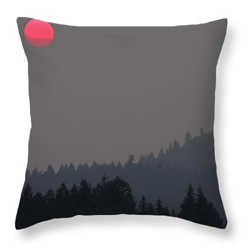Landscapes Throw Pillow featuring the photograph British Columbia On Fire by Peggy Collins