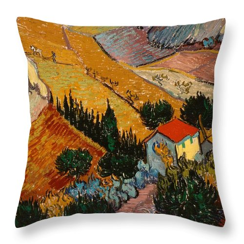 Vincent Van Gogh Throw Pillow featuring the painting Landscape With House And Ploughman by Vincent van Gogh