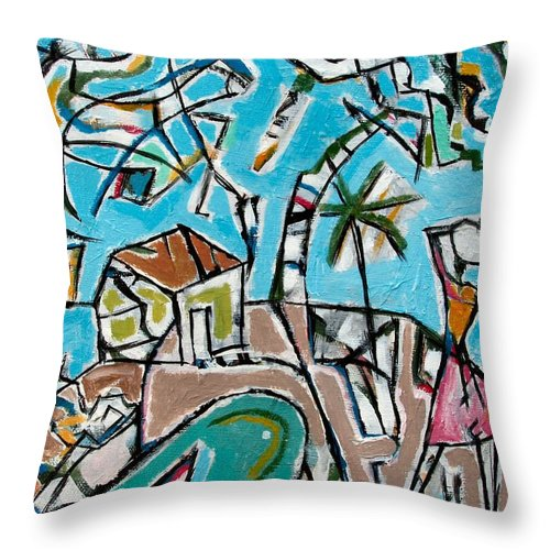 Landscape With Lavadeira Throw Pillow featuring the painting Landscape With Lavadeira by Marcio Melo