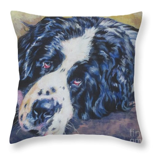 Landseer Throw Pillow featuring the painting Landseer Newfoundland Dog by Lee Ann Shepard