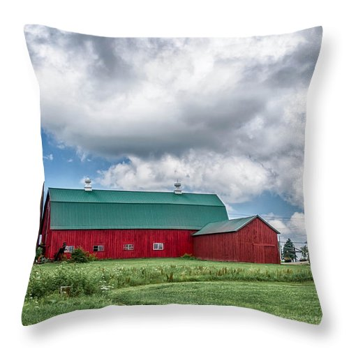 Barn Throw Pillow featuring the photograph Langford Barn 7d06202 by Guy Whiteley