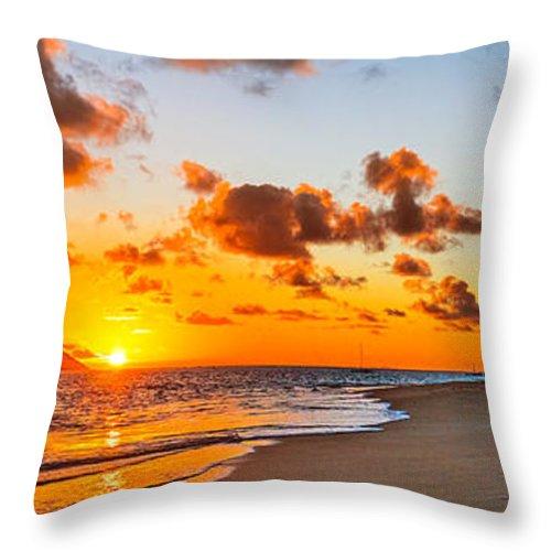 Lanikai Beach Throw Pillow featuring the photograph Lanikai Beach Orange Sunrise 3 To 1 Aspect Ratio by Aloha Art