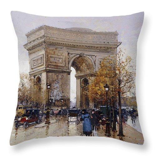 Allegiance Throw Pillow featuring the painting L'arc De Triomphe Paris by Eugene Galien-Laloue