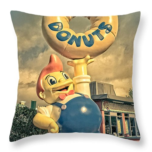Lard Throw Pillow featuring the photograph Lard Lad Donuts by Edward Fielding