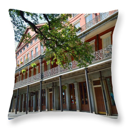 Upper Pontalba Building Throw Pillow featuring the photograph Upper Pontalba Building Photo by Alys Caviness-Gober