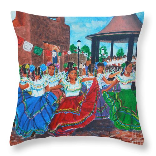 Sokolovich Throw Pillow featuring the painting Las Fiestas by Ann Sokolovich