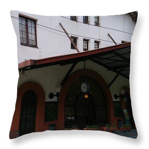 Las Planas Throw Pillow featuring the photograph Las Planas Train Station by Moshe Harboun