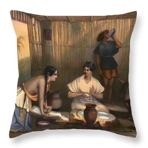Lithograph Throw Pillow featuring the painting Las Tortilleras by Mountain Dreams