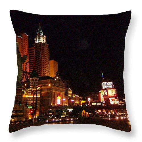 Las Vegas Throw Pillow featuring the photograph Las Vegas At Midnight by Susan Wyman
