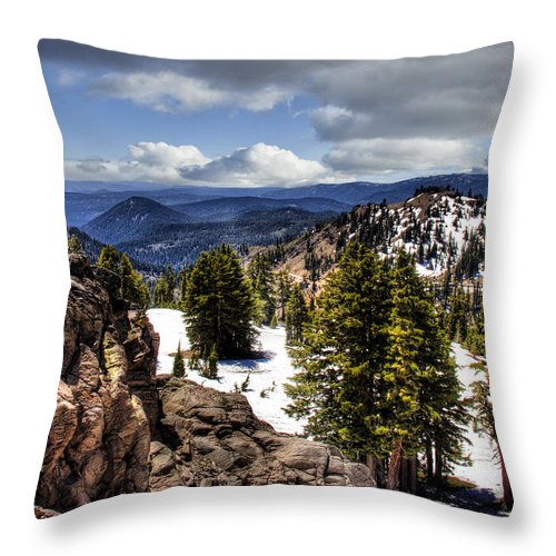 Rocks. Snow. White. Green Throw Pillow featuring the photograph Lassen Volcanic National Park by Larry Lage