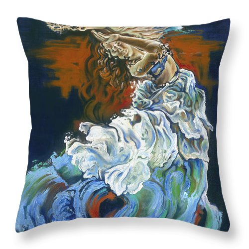 Dive Throw Pillow featuring the painting Dive Into Your Soul by Karina Llergo