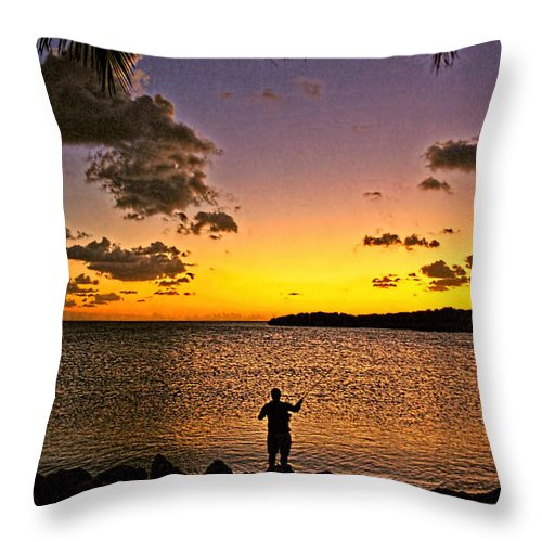 Fishing Throw Pillow featuring the photograph Last Cast Of The Day by Richard Gripp
