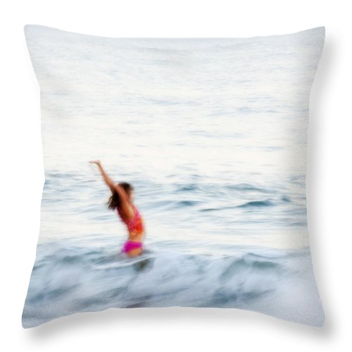 Girl Throw Pillow featuring the photograph Last Days Of Summer by Carol Leigh