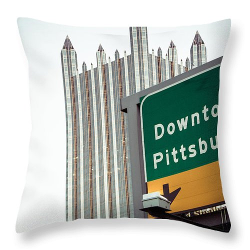 Pittsburgh Pa. Pennsylvania Downtown Ppg Skyline Taaffe Urban Green Yellow Steelers Pirates Throw Pillow featuring the photograph Last Exit Pittsburgh by Jimmy Taaffe