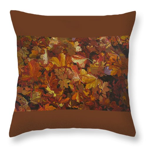 Fall Throw Pillow featuring the painting Last Fall In Monroe by Thu Nguyen