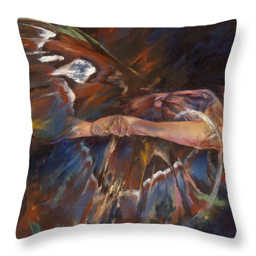 Butterfly Throw Pillow featuring the painting Last Flight by Karina Llergo