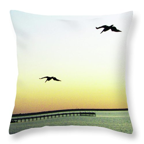 Pelicans Throw Pillow featuring the digital art Last Flight Of The Day by Lizi Beard-Ward