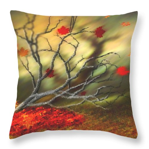 Autumn Throw Pillow featuring the digital art Last Leaves by Dr Loifer Vladimir