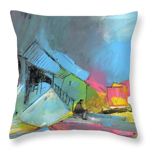 Abstract Throw Pillow featuring the painting Last Man In Town by Miki De Goodaboom