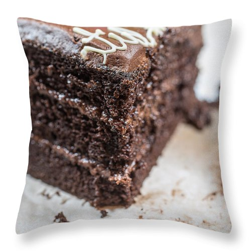 Birthday Throw Pillow featuring the photograph Last Piece Of Chocolate Cake by Edward Fielding