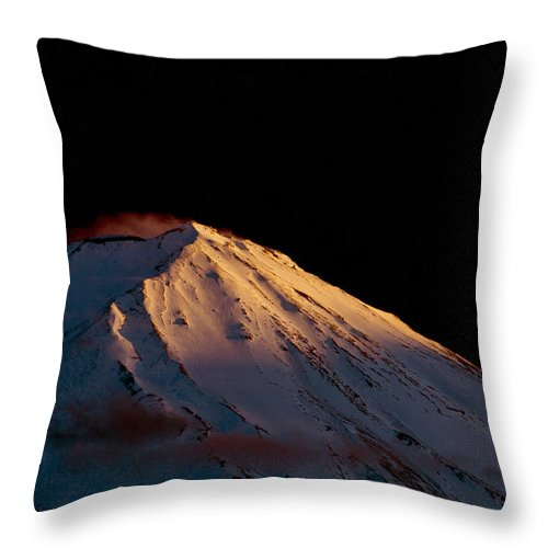 Asia Throw Pillow featuring the photograph Last Rays Upon Mt Fuji by Matt Swinden