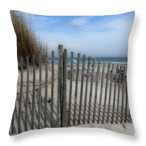 Landscapes Beach Art Sand Art Fence Wood Sky Blue Summertime Ocean Throw Pillow featuring the photograph Last Summer by Linda Sannuti