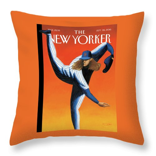 Mets Throw Pillow featuring the painting Late Innings by Mark Ulriksen