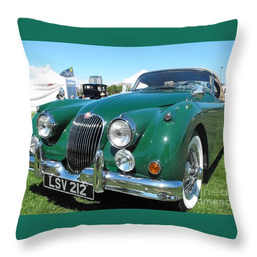 Jaguar Throw Pillow featuring the photograph Jaguar Xk-150 by Neil Zimmerman