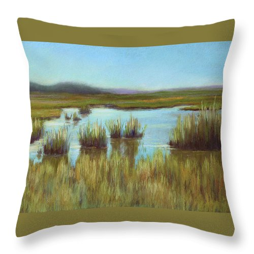 Marsh Throw Pillow featuring the pastel Late Sun On The Marsh by Beth Johnston