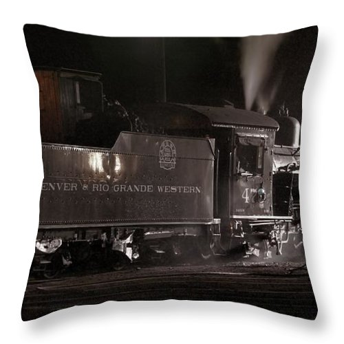 Steam Train Throw Pillow featuring the photograph Latenight Cleaning by Ken Smith