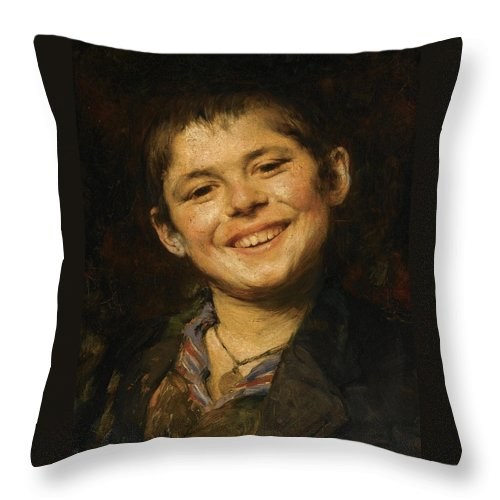 Georgios Jakovidis Throw Pillow featuring the painting Laughing Boy by Georgios Jakovidis