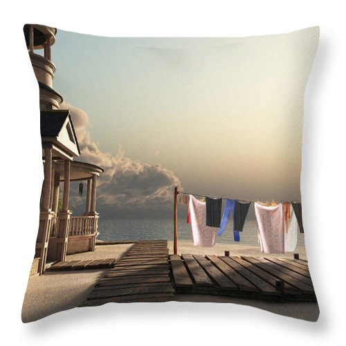 Beach Throw Pillow featuring the digital art Laundry Day by Cynthia Decker