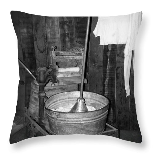 Vintage Throw Pillow featuring the photograph Laundry Day by Image Takers Photography LLC - Carol Haddon