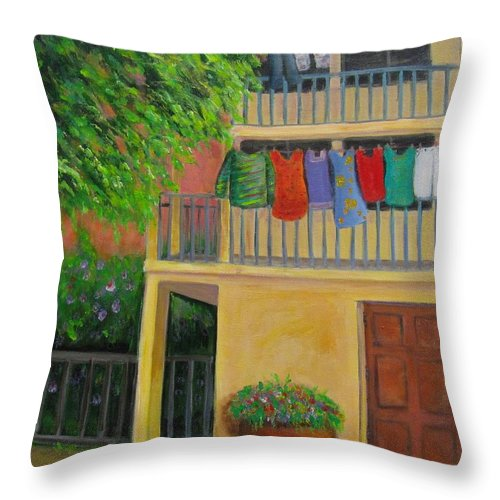 Laundry Throw Pillow featuring the painting Laundry Day by Laurie Morgan