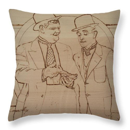 Pyrography Throw Pillow featuring the pyrography Laurel And Hardy - Thicker Than Water by Sean Connolly