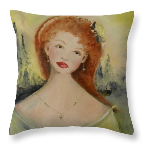 Woman Throw Pillow featuring the painting Laurel by Laurie Lundquist