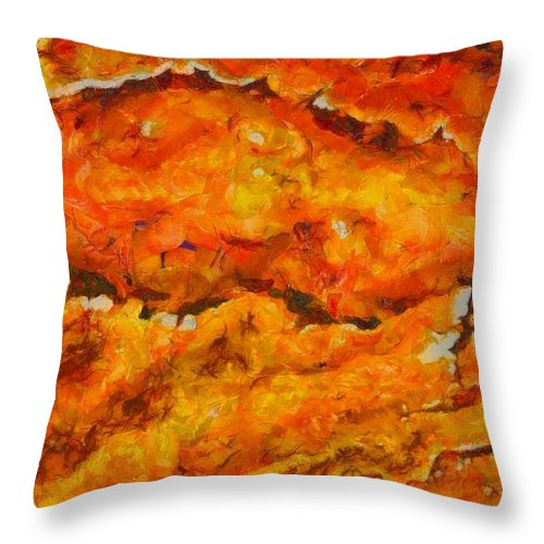 Lava Flow Throw Pillow featuring the painting Lava Flow by Dan Sproul