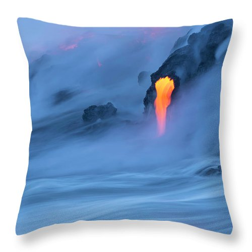 Cool Attitude Throw Pillow featuring the photograph Lava Ocean Entry by Justinreznick