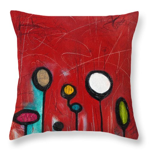 Abstract Throw Pillow featuring the painting Lava Pop by Shakti Kroopkin