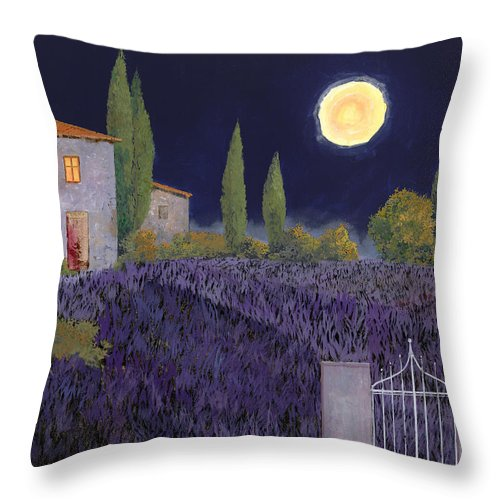 Tuscany Throw Pillow featuring the painting Lavanda Di Notte by Guido Borelli