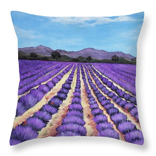 Interior Throw Pillow featuring the painting Lavender Field In Provence by Anastasiya Malakhova
