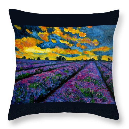 Lavender Field Throw Pillow featuring the painting Lavender Fields At Dusk by Julie Brugh Riffey