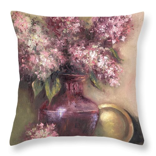 Floral Painting Of Lavender Hygrandeas Throw Pillow featuring the painting Lavender Hydrangeas by Terri Meyer