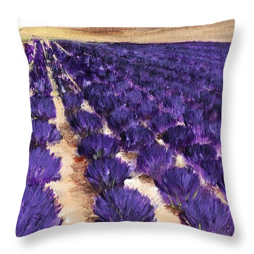 Interior Throw Pillow featuring the painting Lavender Study - Marignac-en-diois by Anastasiya Malakhova