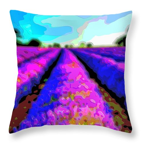 Layer-art Throw Pillow featuring the digital art Layer Landscape Art Lavender Field by Mary Clanahan