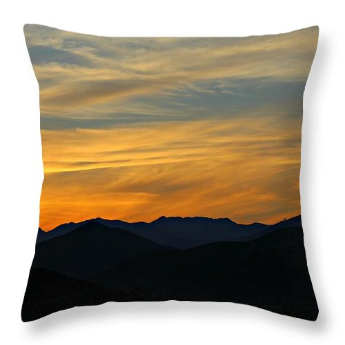 Sunset Throw Pillow featuring the photograph Layers by Clare Bevan